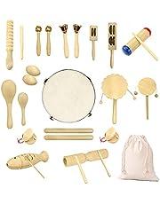 Ulifeme Houten muziekinstrumenten, 27 stks percussie instrumenten voor baby, kinderen en peuter, kinderen puur hout speelgoed set, premium percussie ritme kit, meisjes & jongens cadeau, puur katoenen tas verpakt
