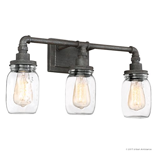 Luxury Industrial Bathroom Light, Medium Size: 11''H x 21.5''W, with Shabby Chic Style Elements, Aged Pipe Design, Antique Black Finish and Mason Jar With Floral Pattern, UQL2662 by Urban Ambiance by Urban Ambiance (Image #7)