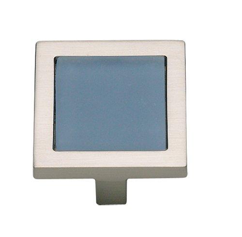 (Atlas Homewares 230-BLU/BRN 1-3/4-Inch Spa Blue Square Knob, Brushed)