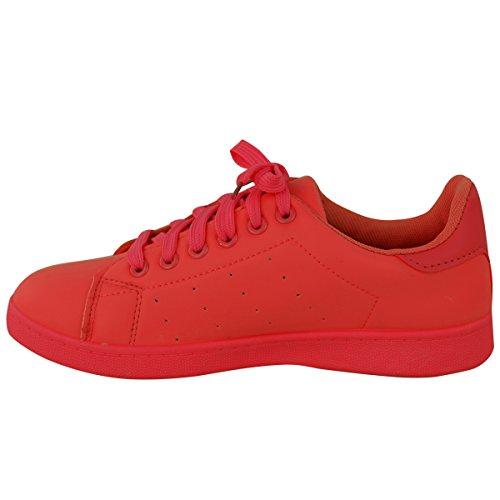 Fashion Thirsty Femmes Lacet Baskets Velcro Classics Rétro Sport Baskets Tennis Taille Rouge UtK8l1