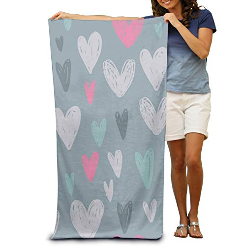 Dongi Colored Hearts On A Gray Background Customize Microfiber Beach Towel -Ultra Soft Super Water Absorbent Multi-Purpose Beach Throw Towel Oversized 32