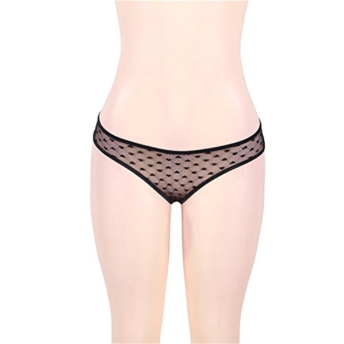Engineeringed Culotte Femme Dot Transparent Sexy Hollow Out Underpants Mesh Sheer Knickers Seamless Women Underwear Panties Pi5141 Black XXL