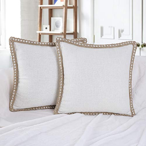 Phantoscope Pack of 2 Farmhouse Burlap Linen Trimmed Tailored Edges Throw Pillow Case Cushion Covers Off-White 18