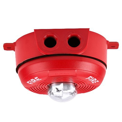 Outdoor back box included. 150 177 and 185 cd System Sensor PC2RHK Ceiling Mount Outdoor Horn // Strobe 2Wire Hi CD Red w// selectable high-candela strobe settings of 135