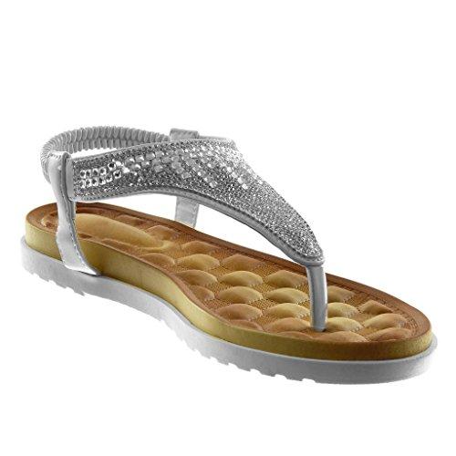 Salomés Tong Angkorly Chaussure 5 cm Semelle Slip 2 Basket on Plat Sandale Mode Talon Blanc Strass Femme Diamant FqwfCtwA