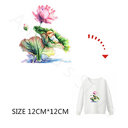 ESH7 1Pcs Iron On Lotus Patches Heat Transfer Thermal Press Pyrography for Girls Clothes DIY Stickers Ironing On Patches Clothes Applique