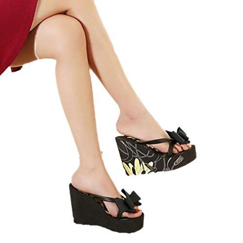 SHANGXIAN de las mujeres biestables sandalia de la cuña Black