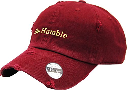 KBSV-078V BUR Be Humble Vintage Distressed Dad Hat Baseball Cap Polo Style Adjustable