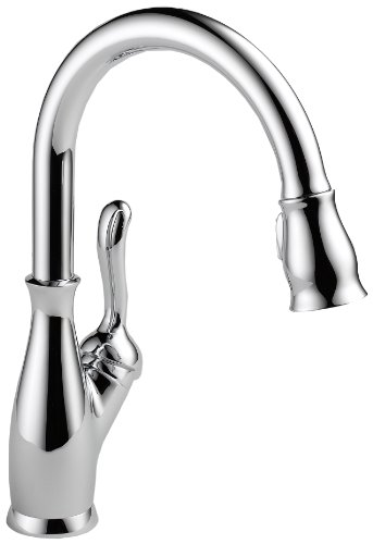 1 Handle Kitchen Escutcheon (Delta Faucet 9178-DST Leland Single Handle Pull-Down Kitchen Faucet with Magnetic Docking,)
