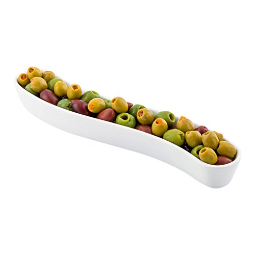 (White Porcelain Olive Plate - Swerve Design, Beautiful Presentation - 9 Inches - 6 oz - 1ct Box - Restaurantware)