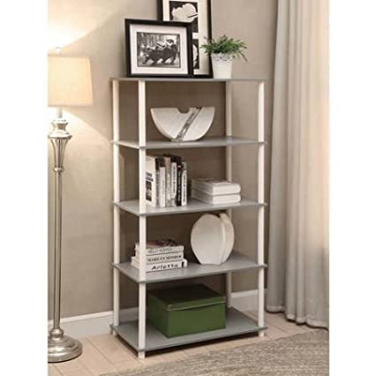 No Tools Assembly 8-Cube Bookcase Shelving Storage Unit in Gray