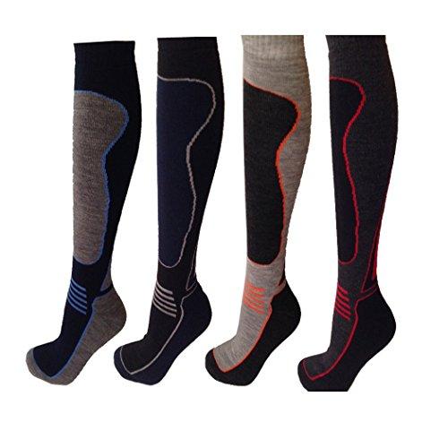 4 Pairs Men's Wool ATOME Ski Socks Thermal Padded 2.0 Tog Size US 7-12