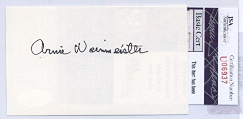 Arnie Weinmeister (D.2000) Giants Hof Signed Index Card - Coa - Jsa Certified - Nfl Cut Signatures