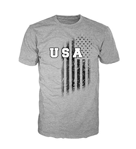 5 Star USA Shirt America Men's Graphic T-Shirt - American Flag, Patriotic, Vintage, Military, Regular, Big and Tall Sizes (Heather Grey/USA Vintage Vertical Flag, XX-Large)