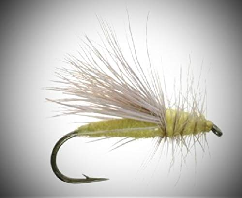 1 Dozen - Yellow Sally - Dry Fly Fly Fishing Flies Lures Strong Fish Hooks for Trout