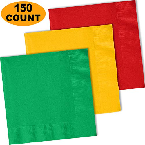- 150 Lunch Napkins, Emerald Green, Sunshine Yellow, Red - 50 Each Color. 2 Ply Paper Dinner Napkins. 6.5