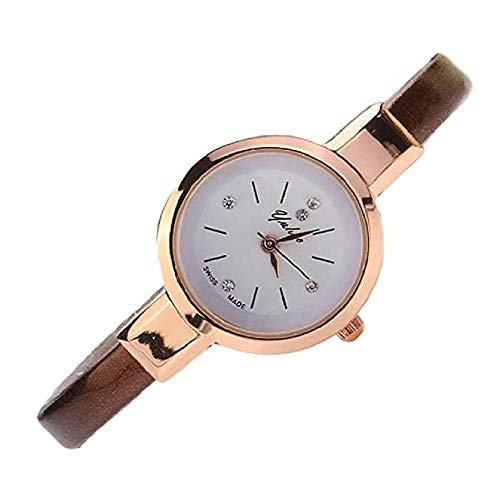 FAVOT Women's Watch Crystal Simple Round Small Dial PU Leather Thin Band Bracelet Quartz Watch Wild Party Dress Jewelry Accessories (Brown)