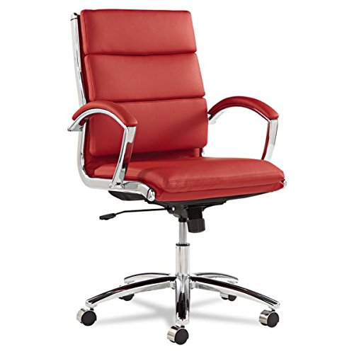 neratoli-mid-back-chair-in-faux-leather-red-bonded-leather-chrome-frame