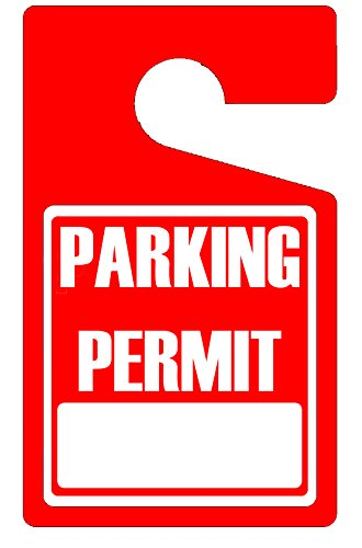 MESS Parking Permit Hang Tags (Red) - 50 Tough Thick Re-Usable Weatherproof Passes for Car Or Vehicle Rear View Mirror/Perfect for Employees, Residents, Tenants and More - 3'' x 5'' by MESS