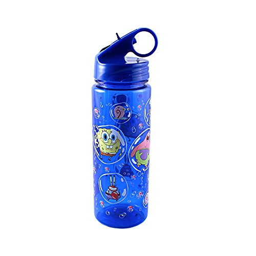 Silver Buffalo SG2464 Nickelodeon SpongeBob SquarePants Characters in Bubbles Tritan Water Bottle, (Spongebob Squarepants Water)