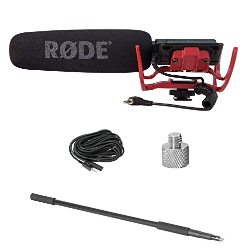 Rode VIDEOMICR CPK Videomic with Rycote Lyre Mount, Boom Pole, Screw Adapter and Extension Cable (Rode Microphone Boom Pole)