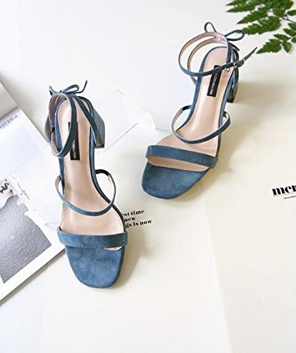 AJUNR Moda/elegante/Transpirable/Sandalias Sandals correa hebilla blue 5cm high heels 34 38
