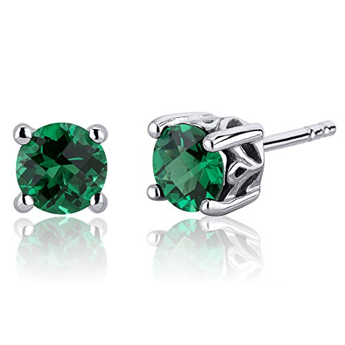 1.50 Carats Simulated Emerald Round Cut Stud Earrings Sterling Silver
