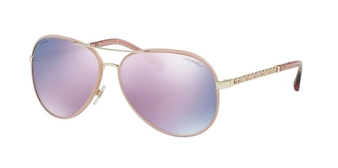 Chanel CH4219Q PILOT CHAIN PALE GOLD/PINK (C3955R) - Gafas ...