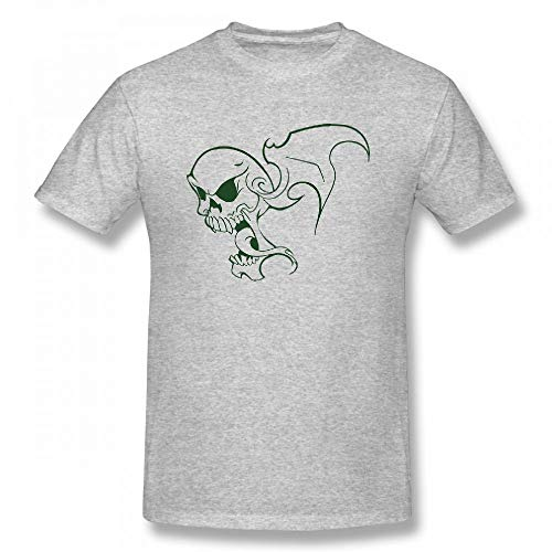 Scary Halloween Flying Skeleton Skull Customizable Personalized Men's T-Shirt Tee Grey