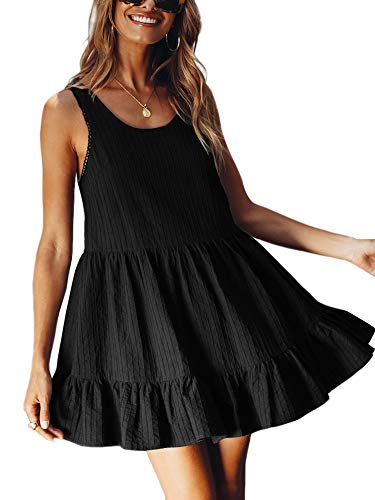 Eliacher Women Babydoll Dress Draped Sleeveless Ruffles Loose Swing Tunic Shift Mini Dress (XS, Black)