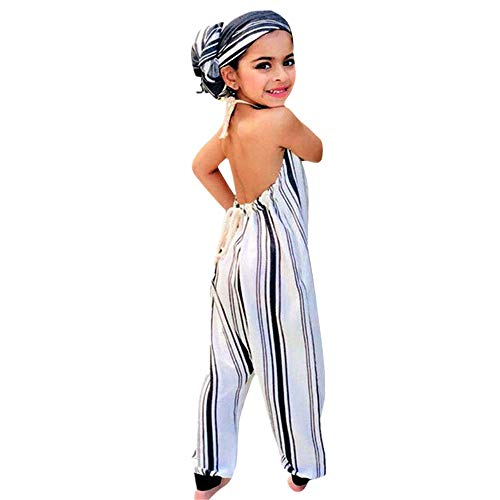 Backless Halter Romper,Kids Baby Girls Jumpsuit Outfits Playsuit Clothes (24M(Height:95-100CM), White) ()