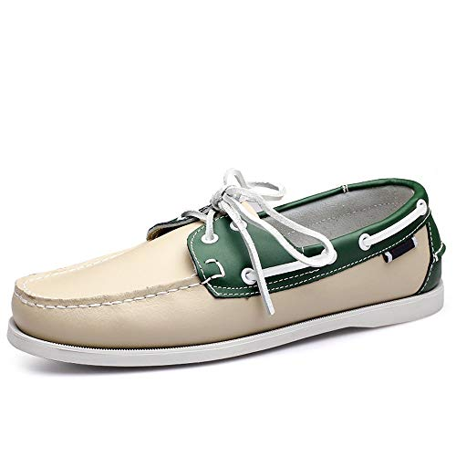 con da Colore da Barca EU Scarpe Suola Green Uomo Pelle Morbida comode 45 Antiscivolo in Stringate Vera Scarpe Le Dimensione White qPPwSxfpn