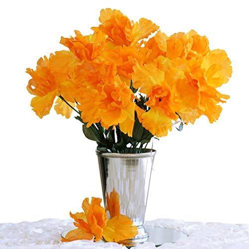 BalsaCircle 60 pcs Orange Silk Iris Flowers - 12 Bushes - Artificial Wedding Party Centerpieces Arrangements Bouquets Supplies