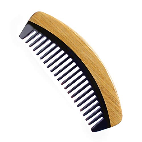 Wide Tooth Hair Comb & Natural Aroma Green Sandalwood Buffalo Horn Comb for Men Women and Kids - Detangling Comb for Thick Curly Hair