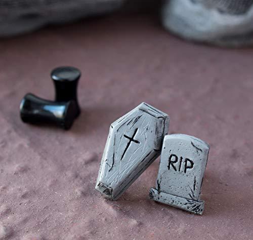 (Gothic plug earrings for men women unisex Brutal coffin gauges Custom size Handmade unique ear stretcher taper Boyfriend birthday gift idea cool alternative punk Goth biker girl guy studs 8g)