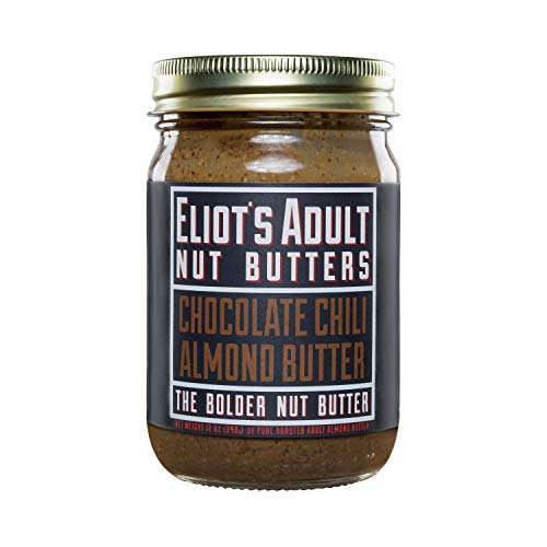 Eliot's Adult Nut Butters Chocolate Chili Almond Butter, 12 Ounce, Non-GMO, Gluten Free, Vegan, Keto and Paleo Friendly, 72 grams of Protein