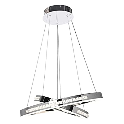 Access Lighting 62458LEDD-CH/CCL Affluence LED Dual Ring Pendant with Crystal Clear Glass Shade, Chrome