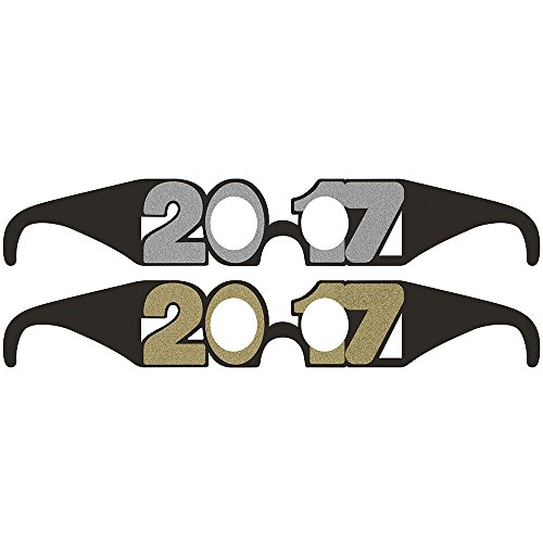 (Creative Converting 316418 72 Count 2017 New Year Wearable Paper Party Glasses with)