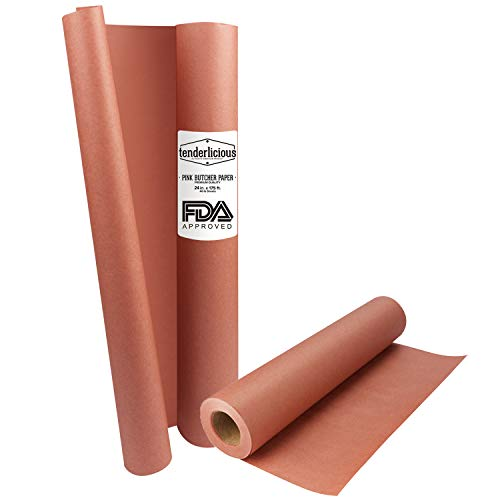 Pink Butcher Paper Roll - 24 ' x 175 ' (2100 ') Peach Wrapping Paper for Beef Briskets - USA Made - All Natural FDA Approved Food Grade BBQ Meat Smoking Paper - Unbleached Unwaxed Uncoated Sheet Kraft