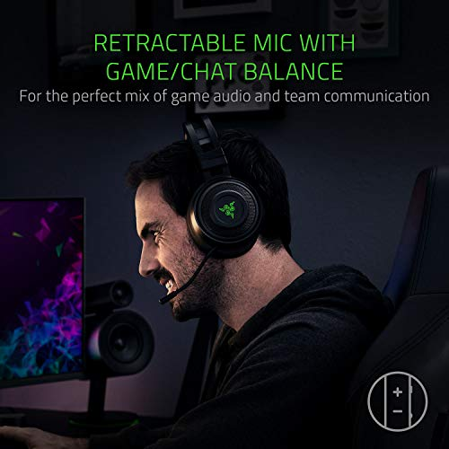 Razer Nari: THX Spatial Audio - Cooling Gel-Infused Cushions - 2.4GHz Wireless Audio - Mic with Game/Chat Balance - Gaming Headset Works for PC, PS4, Switch, Mobile Devices