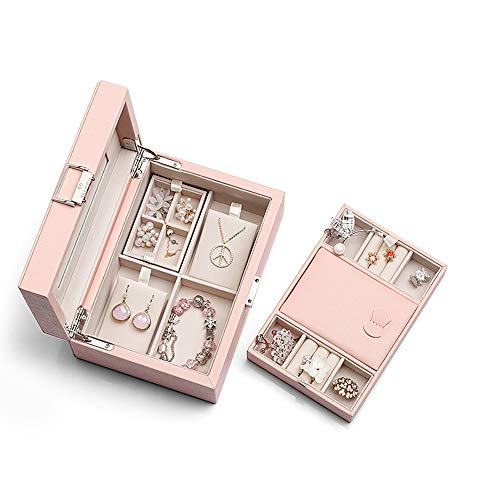 Vlando Medium Jewelry Box Organizer - Large Mirror and 2-Layer for Necklaces Earrings Rings Storage Holder - Gift Packing for Women Girls (Pink)