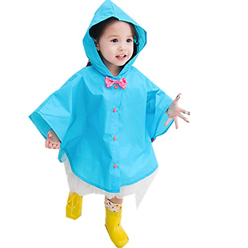 Taiduosheng Age 2~5 Kids Hooded Button Down Jacket Rain Raincoat with Bow Cover Long Rainwear S Blue