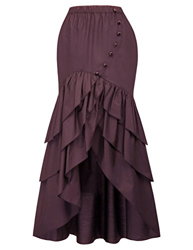 Belle Poque Vintage Steampunk Gothic Victorian Ruffled High-Low Skirt BP000406 (X-Large, Wine)]()