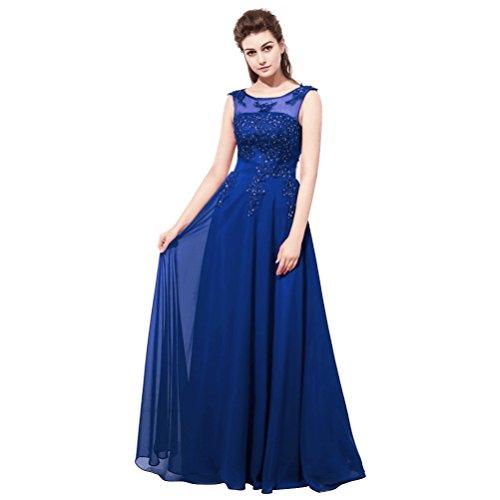 Burgund Aiyana Kleid Rueckenfrei Perlen Schulter Schnüren Blau ärmellos Spitze O Langes Ballklider Abendkleider Elegantes fRg6Rqxw5