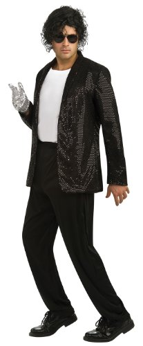 Rubie's Costume Black Sequin Billy Jean Jacket, Medium, Medium (Denim Jacket Halloween Costume)