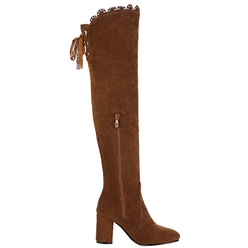AIYOUMEI Damen Overknee Stiefel mit 8cm Absatz Blockabsatz High Heels Langschaft Stiefel Winter Schuhe FQMOF91