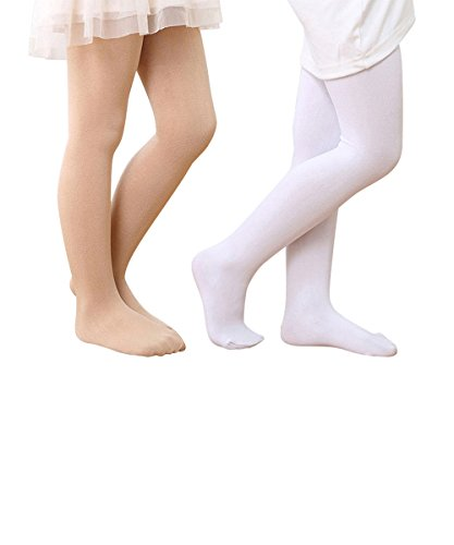 [Zando Girls Full Length Solid Color Stretchy Popular Cotton Warm Pants Leggings Nude White Medium] (Toddler Natural Leopard Costumes)