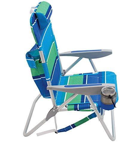 Rio Beach Big Boy Folding 13 High Seat Backpack Beach Or Camping Chair Surf Power Blue//Multi Stripe