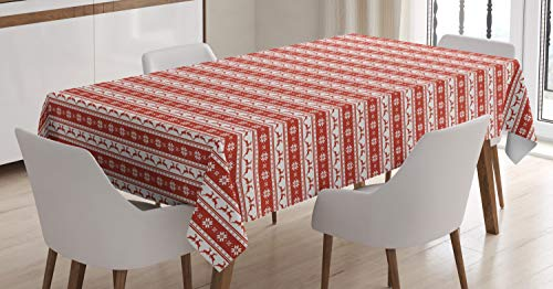 Ambesonne Christmas Decorations Tablecloth, Norwegian Scandinavian Traditional Borders Reindeer Striped Flower, Dining Room Kitchen Rectangular Table Cover, 60 W X 84 L Inches, White Red ()