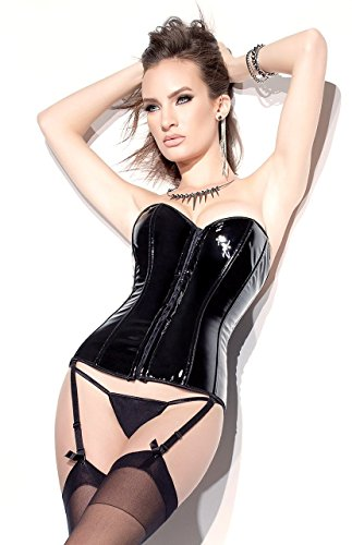 Nyteez Women's Black Wet Look Faux Patent Leather PVC Corset with Stockings (S) -